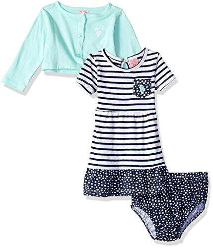U.S. Polo Assn. Baby Girls Dress with Sweater Jacket, Printed Ruffle Sweep Babydoll Mint, 12M