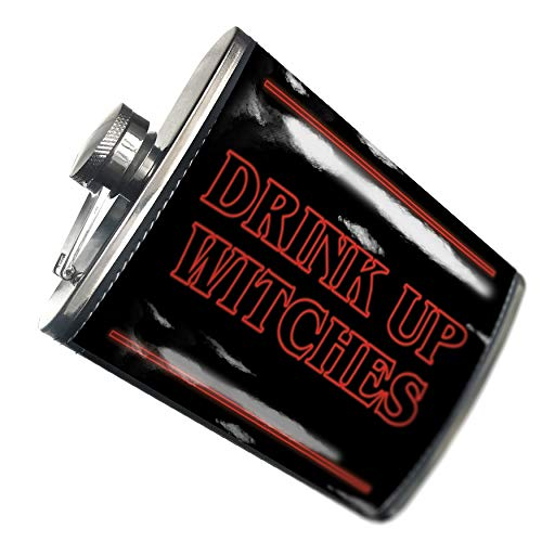 NEONBLOND Flask Drink Up Witches Halloween Strange and Spooky Hip Flask PU Leather Stainless Steel Wrapped ()