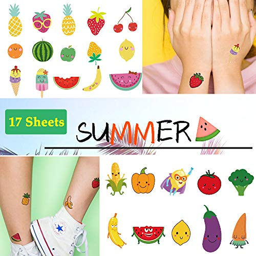 Ooopsi Fruit Temporary Tattoos for Kids - More Than 180 Tattoos (Pack of 17 Sheets) - Non Toxic Waterproof Cartoon Summer Tattoos Sticker for Children Birthday Party Favors]()