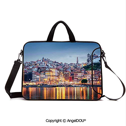 AngelDOU Neoprene Laptop Shoulder Bag Case Sleeve with Handle and Extra Pocket Cityscape by The River in Porto Old Small Town Architecture Decor Compatible with MacBook/Ultrabook/HP/Acer/Asus/Dell/L