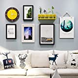 WUXK The Nordic modern minimalist solid wood photo Wall Decorating Ideas wall clock combination photo frame wall photo wall