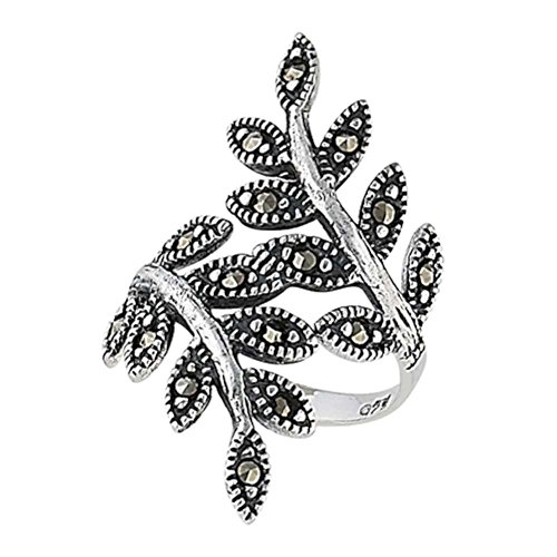 - Sterling Silver Ivy Leaf Vine Branch Marcasite Ring Size 8(Sizes 6,7,8,9)
