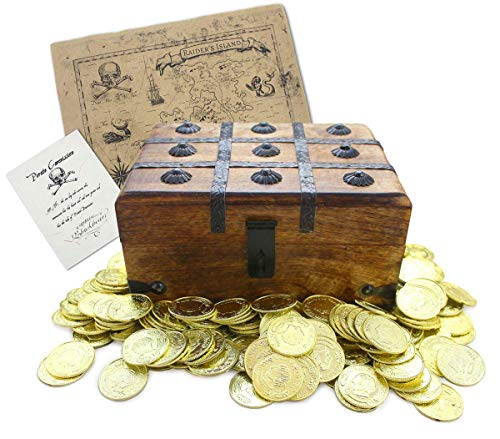 "- Well Pack Box Wooden Pirate Treasure Chest 9"" x 7"" x 5"" with 144 Plastic Gold Coins Authentic Paper Pirate Commission Real World Brown Nautical Paper Map"