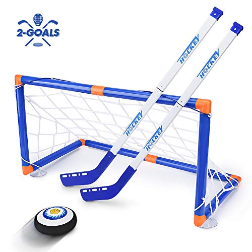 STREET WALK Kids Toys - LED Hockey Hover Set 2 Goals Mini Screwdriver - Air Power Training Ball Playing Hockey Game - Hockey Toys 3 4 5 6 7 8 9 10 11 12 Year Old Boys Girls Best Gift