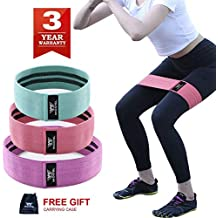 SANJIANKER Resistance Bands Exercise Bands for Booty,Hip Bands for Legs and Butt, Stretch Bands for Physical ,Set of 3,Workout Bands with Workout Book & Carry Bag (Green-Pink, SML)