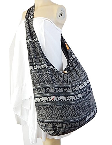 Sling Purse Ethnic Ae1 Crossbody Thai BTP Black Hippie Bag Messenger Cotton Elephant Hobo Parade 8RxzR