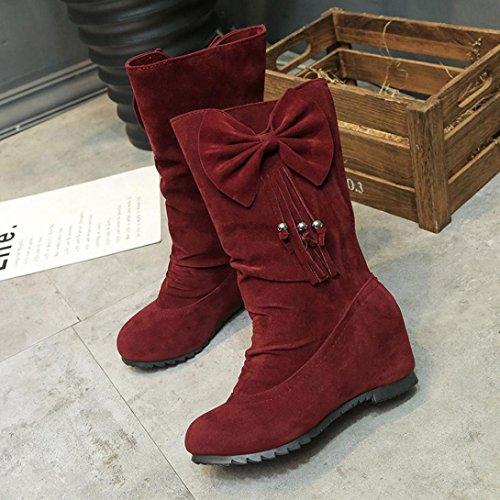 Winterlaarzen Voor Dames, Zoals Mijn Laarzen Strik Kwastje Winterlaarzen Warme Halfhoge Laarzen Winterschoenen Wijnrood
