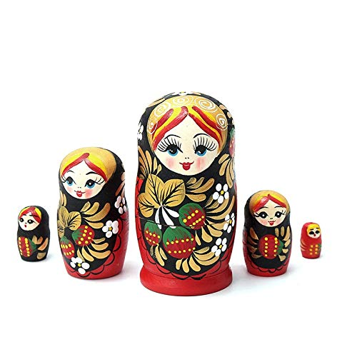 Doll Wooden - Traditional 5pcs Set Russian Matryoshka Dolls Wooden Nesting Babushka Hand Painted Gift Toy Home - Hangers Wooden Spinning Doll House High Furniture Wheel Cradle Stroller Decorati