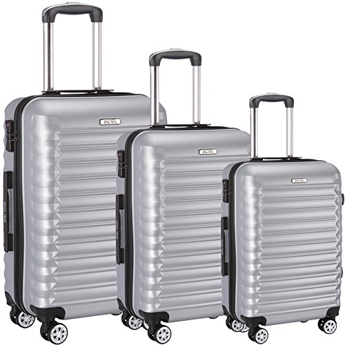Luggage Set 3 Piece ABS Trolley Suitcase Spinner Hardshell Lightweight Suitcases TSA (Silver)