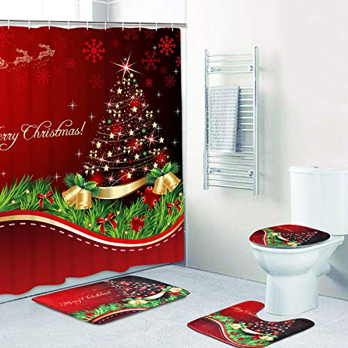 4 Pcs Merry Christmas Shower Curtain Sets with Non-Slip Rugs, Toilet Lid Cover, Bath Mat and 12 Hooks Xmas Tree Ball Snowflake Shower Curtain for Christmas Decoration