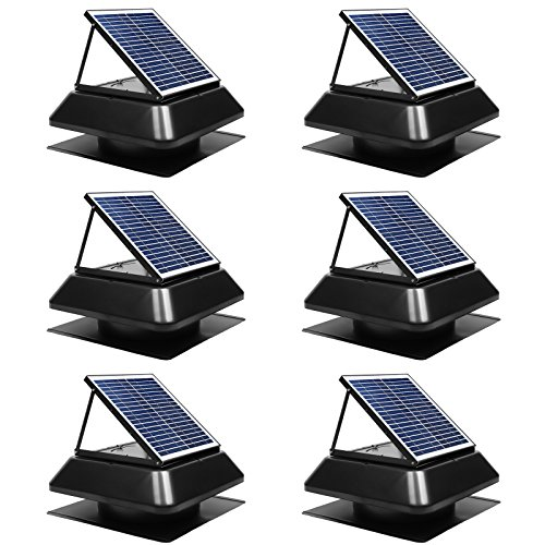 Case of 6, GBGS Solar Attic Fan 1750 CFM, Adjustable Polycrystalline Solar Panel, Rust Free Roof Mounted, Easy Installation, Noise Less Than 45db, 14in Air Duct For Garage, Hot Environment(20x20x13in)