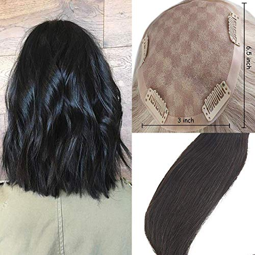 - Easyouth Long Topper Hair Piece Human Hair Clip in Remy Topper Crown Extensions 20
