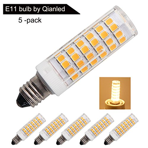 [5 Pack] Qianled Dimmable E11 LED Bulb, Replace 75W-100W Halogen Bulbs, Mini Candelabra Base, 360° Beam Angle, Warm White 3000K, 5.5 Watt, AC 110V 120V 130V, 2835 - Mini Candelabra