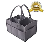 Diaper Caddy by Genum with FREE Changing Mat - Premium Portable Nursery Storage Bin Organizer for Diapers, Lotion, Wipes & More - Adjustable, Self-Standing, Car Travel Station for Babies, and Newborns