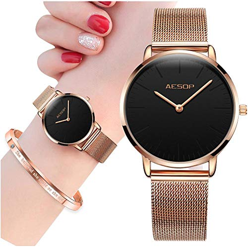 Rose Gold Watch Casual Thin Watches for Women Brand Aesop Dress Watch,Female Simple Black Big Face Analog Watch with Date Milanese Mesh Band for Women with Inspirational Bracelets Bangle