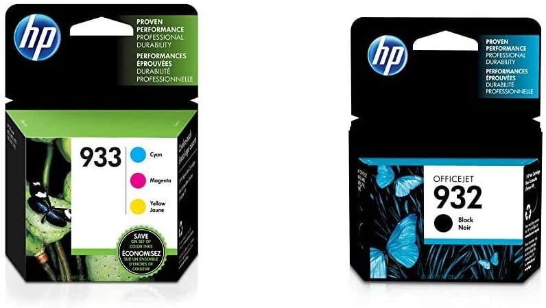 HP 933 | 3 Ink Cartridges | Cyan, Magenta, Yellow | CN058AN, CN059AN,CN060AN & 932 | Ink Cartridge | Black | CN057AN