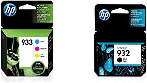 HP 933 | 3 Ink Cartridges | Cyan, Magenta, Yellow | CN058AN, CN059AN,CN060AN & 932 | Ink Cartridge | Black | CN057AN