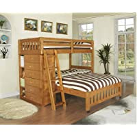Bunk Bed with Bookshelves and Storage Twin/Full L-Shaped Kids Toddler Bedroom Furniture Solid Wood