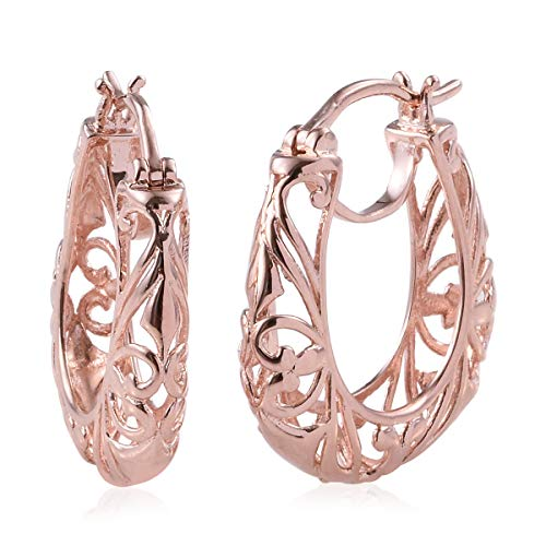 Small Openwork Basket - 14K Rose Gold ION Plated Openwork Basket Round Hoops Hoop Earrings for Women Filigree Jewelry
