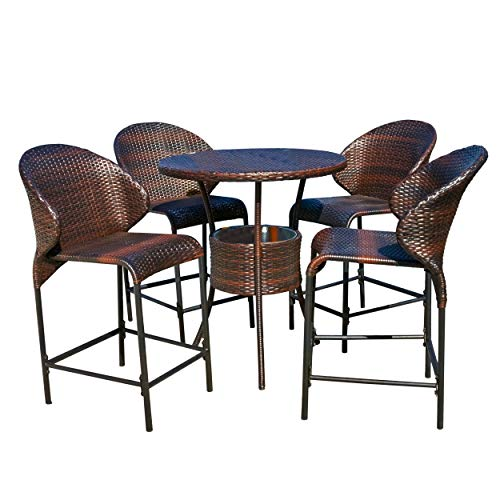 Christopher Knight Home 238087 Bennett Outdoor 5pc Bistro Bar Set w/Ice Pail, Brown