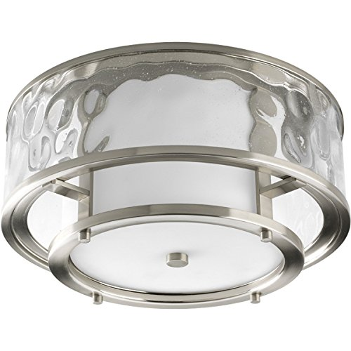 (Progress Lighting P3942-09 Bay Court Collection 2-Light Outdoor Flushmount, Brushed Nickel)