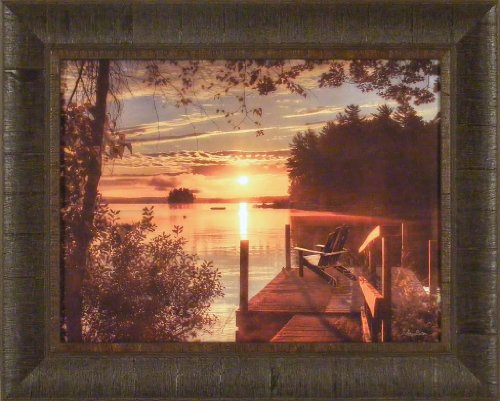 Fire Water by Lori Deiter 17x21 Lake Dock Sunset Adirondack Chair Framed Art Print Wall Décor Picture