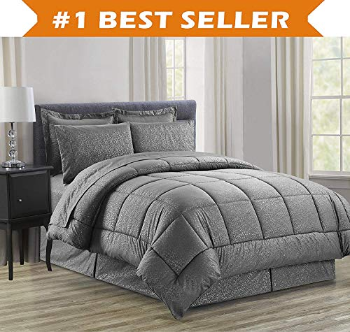 Luxury Bed-in-a-Bag Comforter Set on Amazon! Elegant Comfort Wrinkle Resistant - Silky Soft Beautiful Design Complete Bed-in-a-Bag 8-Piece Comforter Set -Hypoallergenic- King Grey