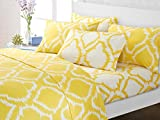Chic Home 6 Piece Rosamie Medallion Ikat contrast color printed super soft brushed 500 thread count microfiber Queen Sheet Set Yellow