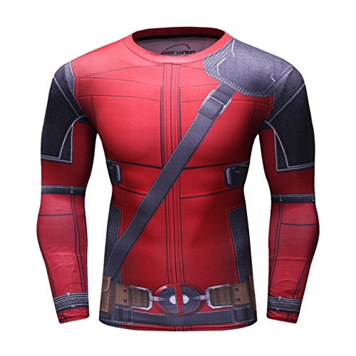 Red Plume Men's Compression Sports Shirt Cool Lightning/Flash Running Long Sleeve Tee/3 Colors ()