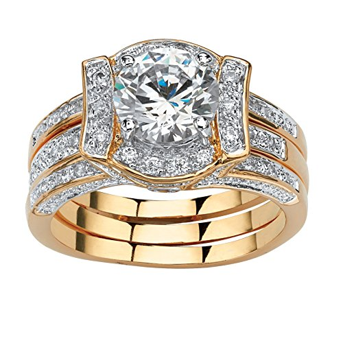 Palm Beach Jewelry 18K Yellow Gold-Plated Round Cubic Zirconia Vintage-Style Jacket Bridal Ring Set Size 8 ()