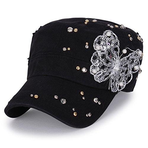 (ililily Vintage Distressed Cotton Rhinestone Embellished Hat Military Cadet Cap (cadet-661-2))