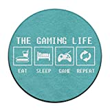 nuohaoshangmao 23.6'' Round Area Rug Non-Slip Gaming Life Floor Mat Shaggy Carpet Home Decorate Office Chair Pile