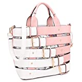 MKY Extra Large Tote Bag Designer Shoulder Handbag Buckle Details w/Removable Shoulder Strap Pink