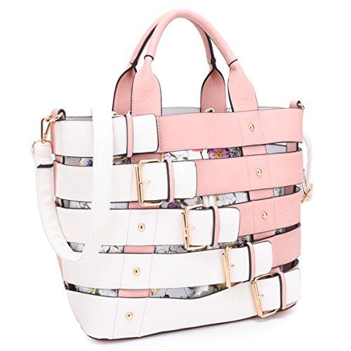 Pink Designer Purse - MKY Extra Large Tote Bag Designer Shoulder Handbag Buckle Details w/Removable Shoulder Strap Pink