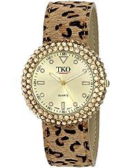 TKO Womens Leather Leopard Animal Print Gold Black Crystal Metal Slap Watch TK618LP