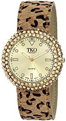 TKO Women's Leather Leopard Animal Print Gold Black Crystal Metal Slap Watch TK618LP