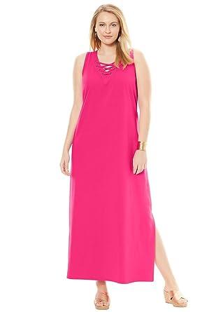 06452c302c9 Jessica London Women s Plus Size Tall Lace Up Maxi Dress - Passion Pink
