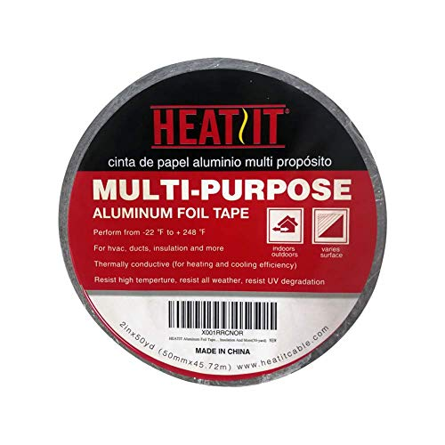 (HEATIT Aluminum Foil Tape - 2 inch x 150 feet for HVAC, Ducts, Pipes, Metal Repair, Pipe Heating Cable Application etc)