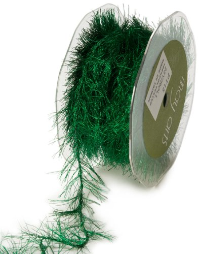 Eyelash Ribbon - May Arts Ribbon, Green Metallic Eyelash