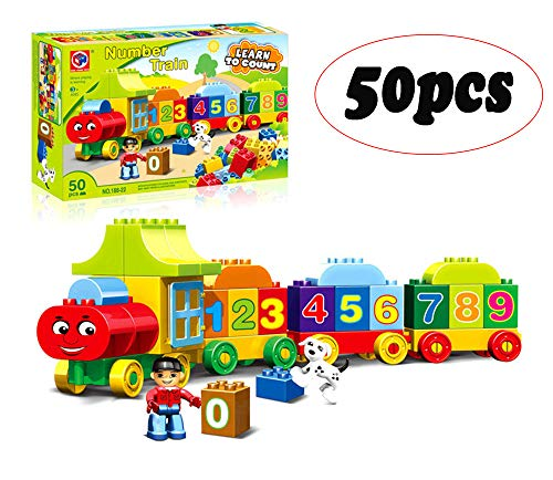Learning Train Building Set Learning Train Building Blocks Set, 50 Pieces 1 2 3 Number Train Early Educational Gift Toys, Building Preschool Toy , Alphabet Letter Building Blocks, Preschool Toy