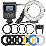 Neewer 48 Macro LED Ring Flash Bundle with LCD Display Power Control, Adapter Rings and Flash Diffusers for Canon 650D,600D,550D,70D,60D,5D Nikon D5000,D3000,D5100,D3100,D7000,D7100,D800,D800E,D60