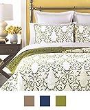 mixinni Luxury 100% Cotton Embroidered Quilt Set 3 Piece Bedding Set,Bedspread Set,Comforter Set-(Queen,Green)