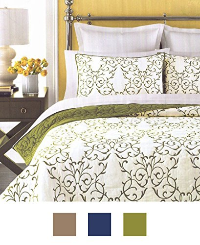 mixinni Luxury 100% Cotton Embroidered Quilt Set 3 Piece Bedding Set,Bedspread Set,Comforter Set-(Queen,Green) by mixinni