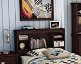 South Shore Willow Collection Twin 39-Inch Bookcase Headboard, Havana