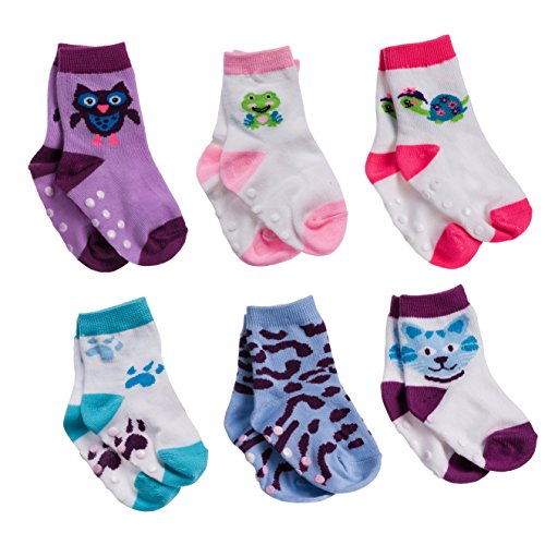 Silky Toes Non-Skid Newborn Baby Socks Gift Set (12-18M, Purple Animal Print (6 Pairs))