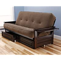 Philadelphia Futon Complete Espresso Frame w/ Trays Premium Mattress Sofa Bed w/ Drawer Set (Marmont Mocha)