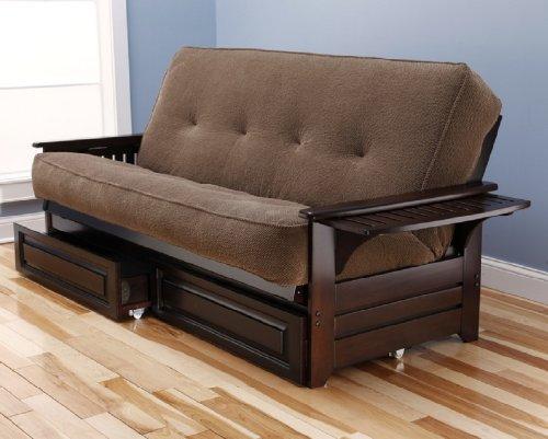 Philadelphia Futon Complete Espresso Frame w/ Trays Premium Mattress Sofa Bed w/ Drawer Set (Marmont Mocha) (Tray Oak Bed Finish)