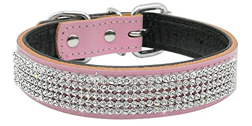 Beirui Bling Rhinestones Dog Collar - Soft Genuine Padded Leather Made Sparkly Crystal Diamonds Studded -Perfect for Pet Show & Daily Walking Pink 10-12.5""