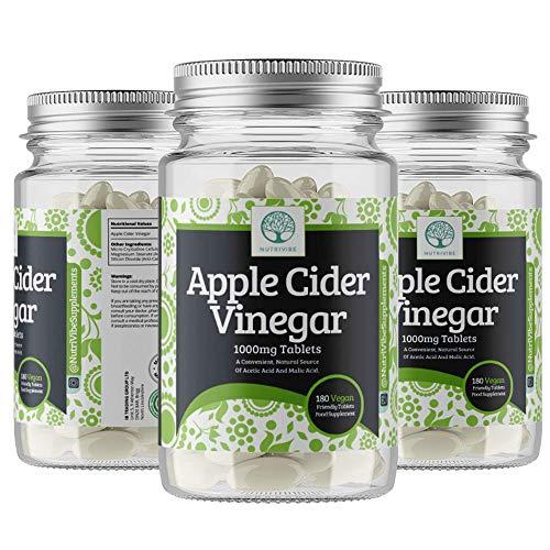 Apple Cider Vinegar 1000mg - Premium Quality Supplement,180 Capsules - 180 Days Supply - UK Made - Vegan Suitable - Nutrivibe Apple Cider Vinegar Tablets