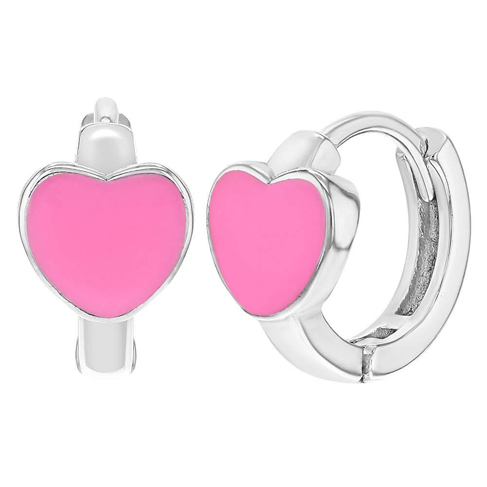 925 Sterling Silver Heart Hoop Earrings Pink Enamel Girls Kids 0.39' In Season Jewelry SS-03-00032